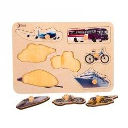CLASSIC WORLD Drewniana Układanka dla Dzieci Pojazdy Transport Dopasuj Kształty 9 el.
