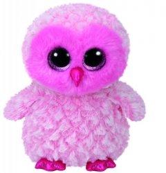 Maskotka TY Beanie Boos - różowa sowa Twiggy, 24 cm