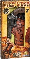 Rewolwer kowbojski metalowy z kaburą 8 naboi Gonher
