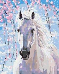 Obraz Paint it! Malowanie po numerach. Koń w kwiatach wiśni