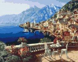 Obraz Paint it! Malowanie po numerach. Miasteczko w Alpach