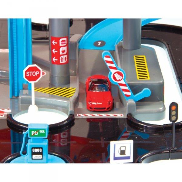 MOCHTOYS Parking 3 Poziomy Garaż Samochodzik Znaki Drogowe