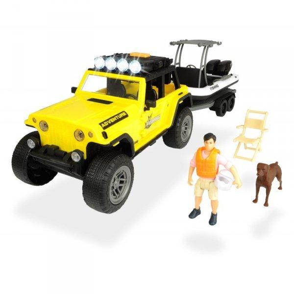DICKIE Play Life Zestaw Wyjazd na Ryby Jeep z Lawetą i Łodzią