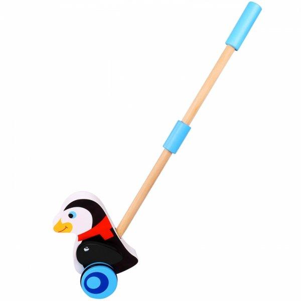 TOOKY TOY Drewniany Pingwin do Pchaniana na Kiju Pchacz