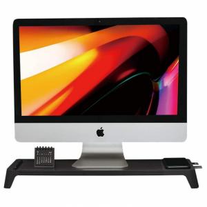 POUT Eyes8 – Drewniana podstawka pod monitor z szybką ładowarką oraz bezprzewodowym ładowaniem urządzeń, 3-w-1, kolor czarny