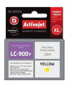 Tusz Activejet AB-900YN (zamiennik Brother LC900Y; Supreme; 17.5 ml; żółty)