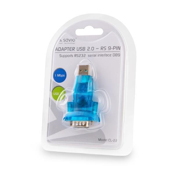 Adapter SAVIO cl-22 (USB M - DB9 M; kolor niebieski)