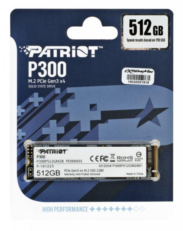 SSD Patriot P300 M.2 PCI-Ex4 NVMe 512GB 1,7GB/s