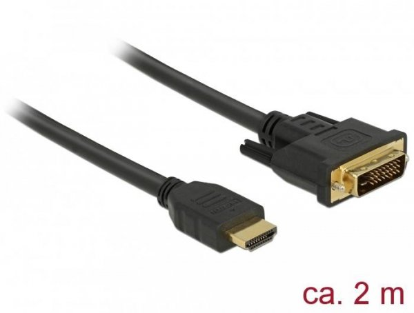 DELOCK KABEL HDMI (M) -> DVI-D (M)(24+1) 2M DUAL LINK 85654