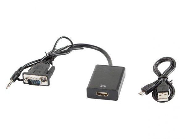 Adapter Lanberg AD-0021-BK (D-Sub (VGA), Mini Jack M - HDMI F; 0,20m; kolor czarny)