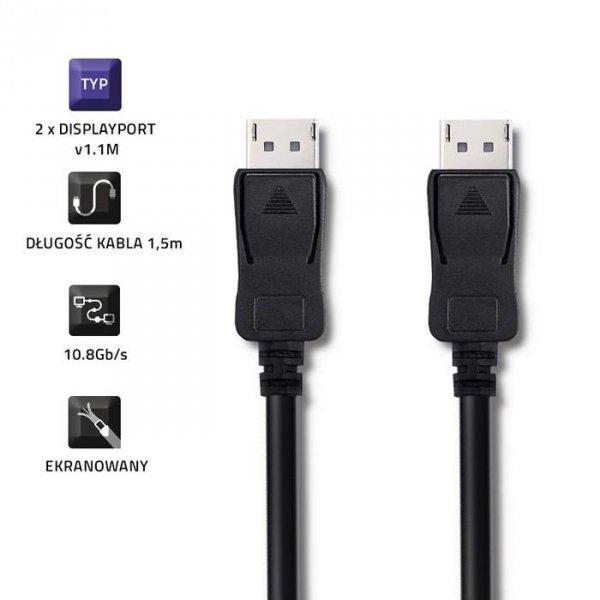 Qoltec 50456 DisplayPort v1.1 męski   DisplayPort v1.1 męski   4K   1.5m