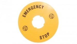 Szyld opisowy fi 90mm EMERGENCY/STOP LPXAU113
