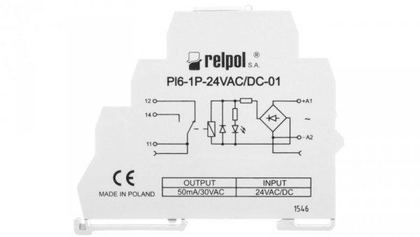 Przekaźnik interfejsowy 1P 12A 24V AC/DC AgSnO2 PI6-1P-24VAC/DC-01 858555