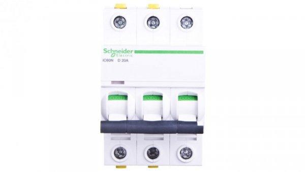 Wyłącznik nadprądowy 3P D 20A 6kA AC iC60N-D20-3 A9F05320