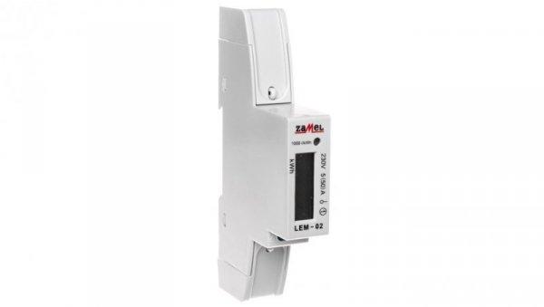 Licznik energii elektrycznej 1-fazowy 50A 230V wyświetlacz LCD LEM-02 EXT10000033