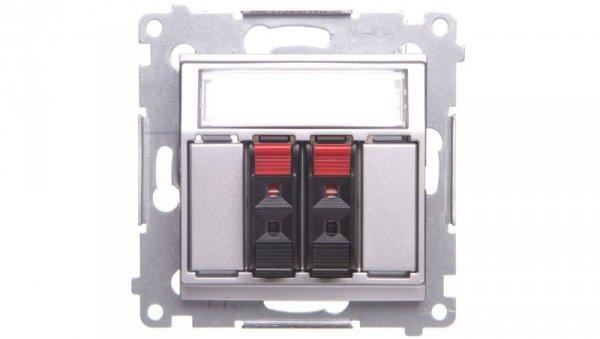 Simon 54 Gniazdo głośnikowe podwójne srebrny mat DGL32.01/43