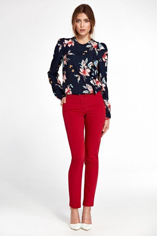 Klasyczne spodnie z lekko zwężanymi nogawkami SD32 Red - Nife