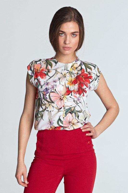 Bluzka z subtelnym pęknięciem bez rękawów B97 Flowers/Ecru - Nife