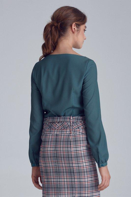 Bluzka z bufiastymi rękawami B106 Green - Nife