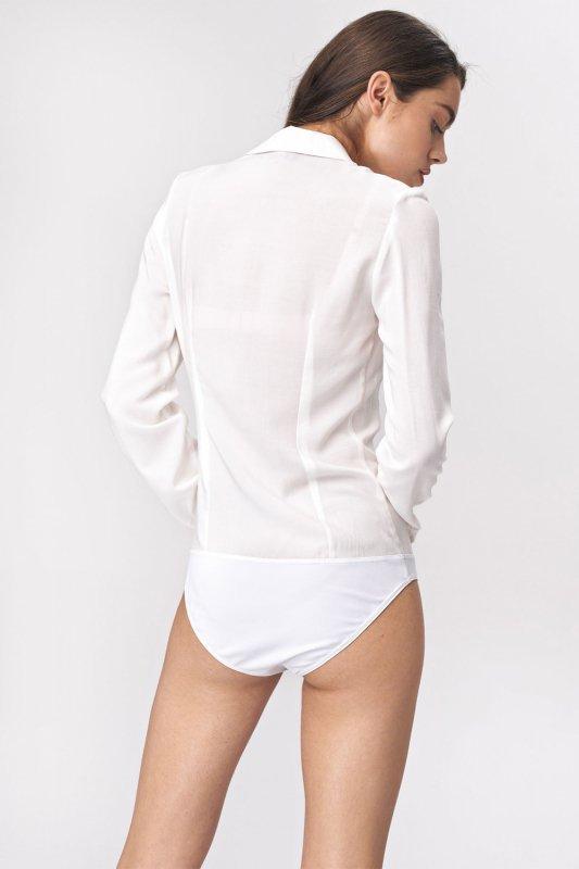 Bluzka koszulowa body B110 Ecru - Nife