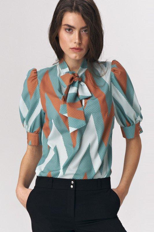 Turkusowa bluzka z wiązaniem na dekolcie w zygzak B111 Turkus - Nife