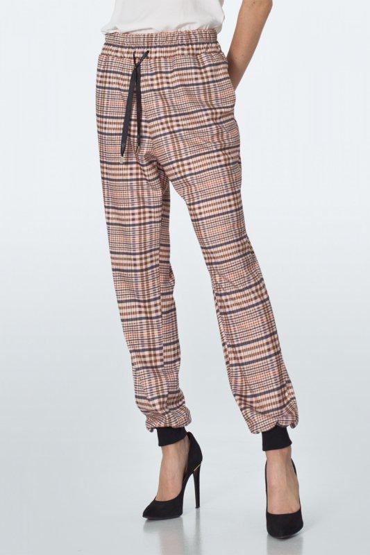 Spodnie Beżowe spodnie dresowe w kratę SD48 Beige/Krata - Nife