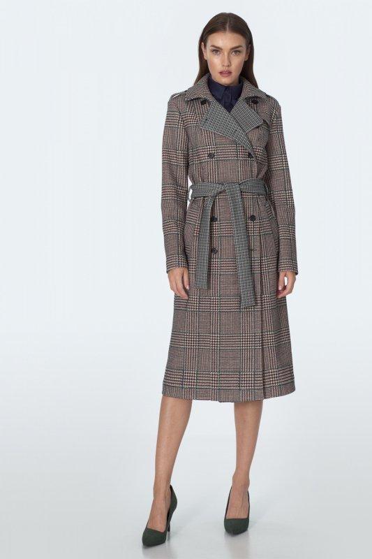 Dwurzędowy płaszcz z paskiem w pepitko PL10 Pepitko - Nife