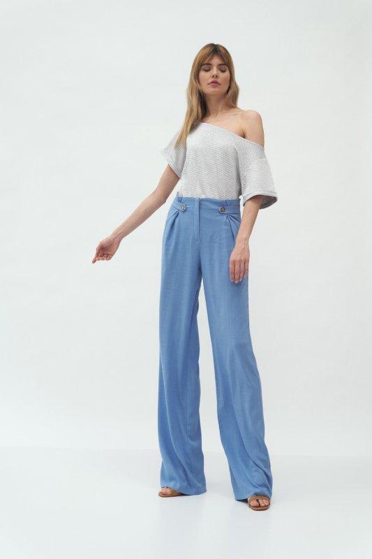 Niebieskie spodnie z zakładkami typu palazzo SD58 Blue - Nife