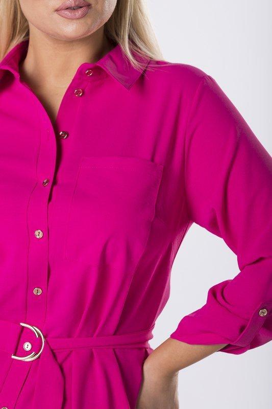 koszulowa sukienka z wiązaniem w pasie