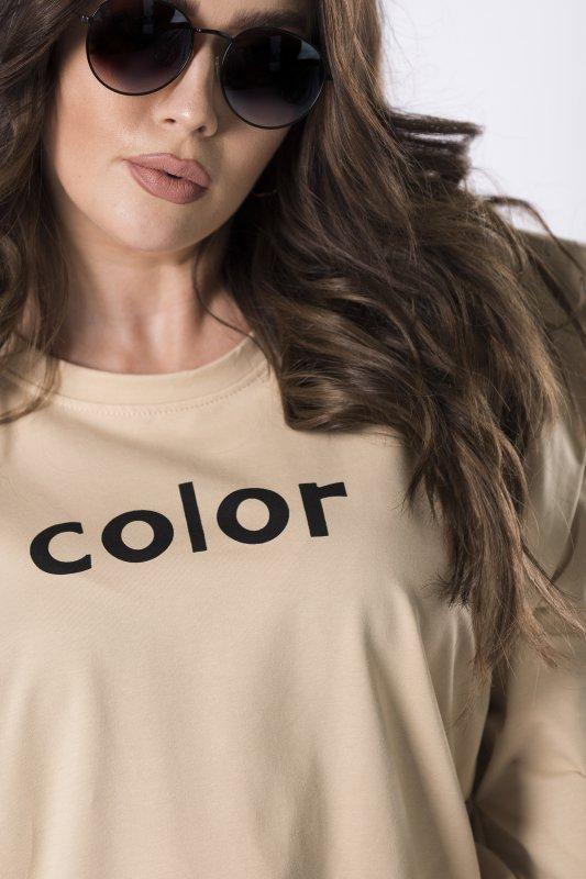 bluza z napisem i ściągaczem u dołu