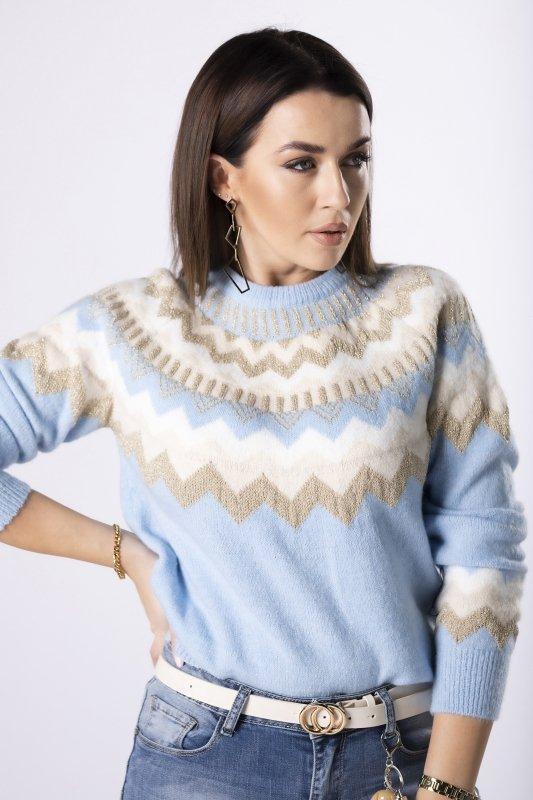 sweter z połyskującym wykończeniem