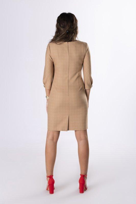 ołówkowa sukienka w kratkę