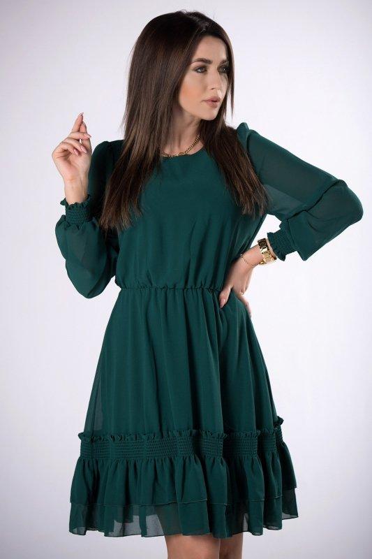 szyfonowa sukienka z długim rękawem