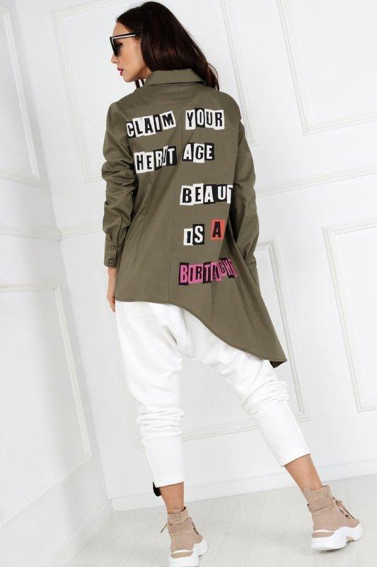 koszula z wydłużonym bokiem