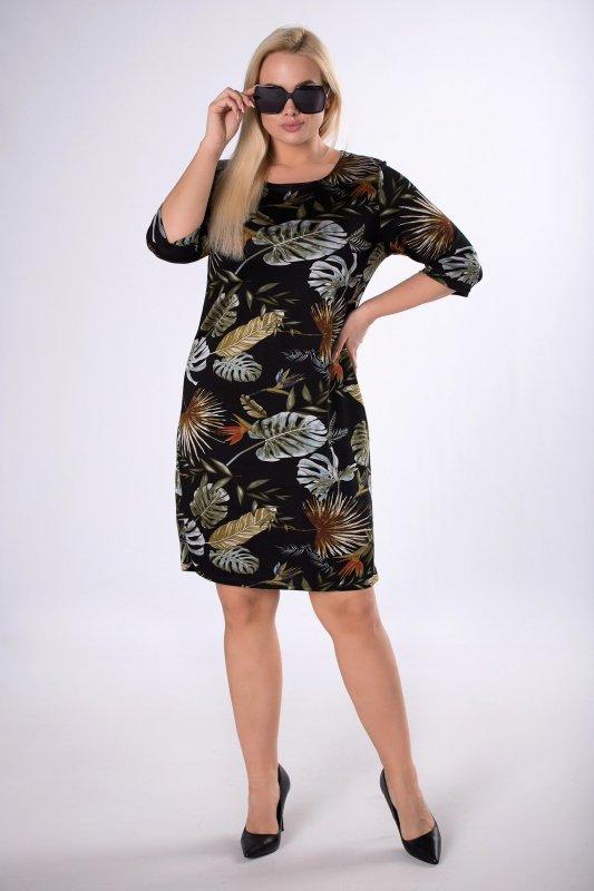 dzianinowa sukienka z printem