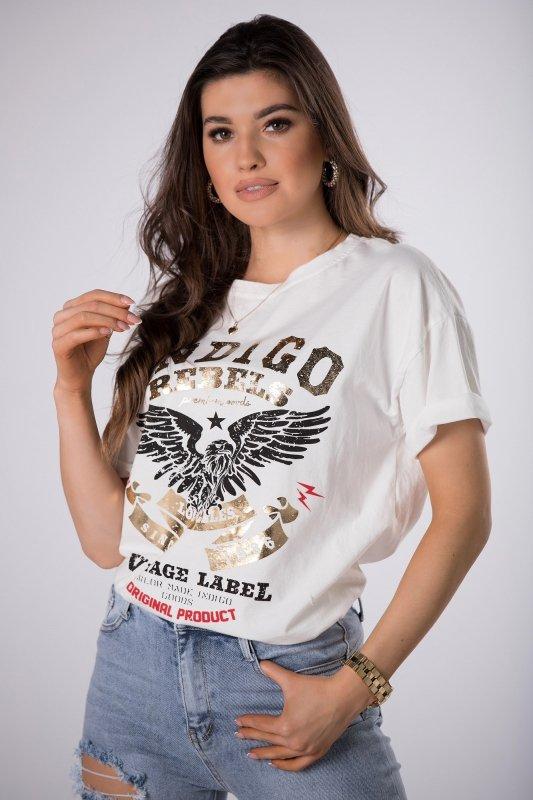 t-shirt z połyskującym nadrukiem