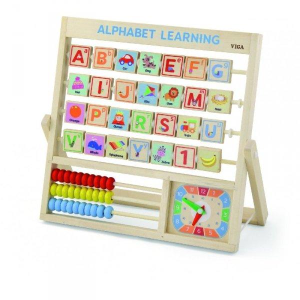 Drewniana Tablica Alfabet Nauka Angielskiego Zegar Liczydło - Viga Toys