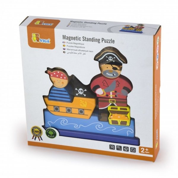 Drewniane Klocki magnetyczne Zestaw Pirat 10 Elementów - Viga Toys