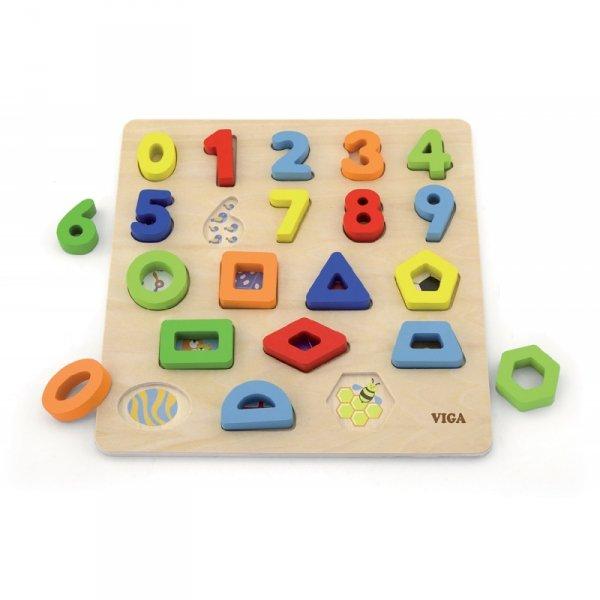 Sorter Kształtów Cyferki + Figury Geometryczne Drewniane - Viga Toys