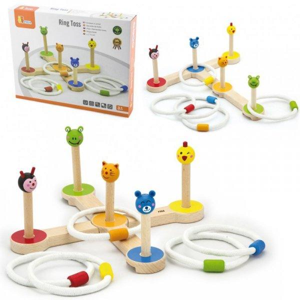 Drewniana gra Rzut pierścnieniem Zwierzątka - Viga Toys