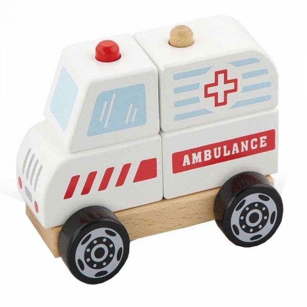 Drewniane Klocki Ambulans Karetka Pojazd Auto Pogotowie - Viga Toys