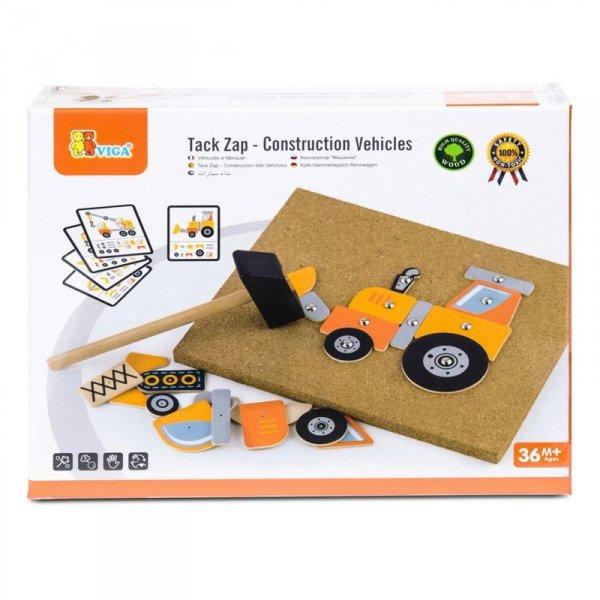 Drewniana Przybijanka Pojazdy budowlane 45 elementów - Viga Toys