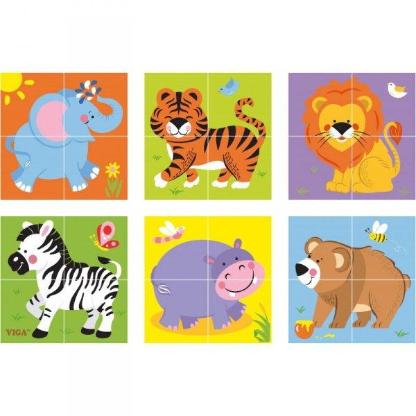 Drewniana układanka - Zoo Puzzle - 4 klocki - Viga