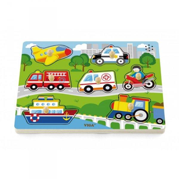 Drewniane Puzzle dźwiękowe Pojazdy - Viga Toys