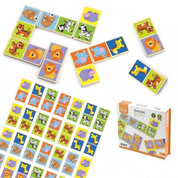 Drewniane Klocki GRA DOMINO Zestaw Zwierzątka 28 Elementów - VIGA Toys