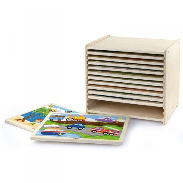 Puzzle drewniane 12 plansz po 16 puzzli w stojaku - Viga Toys