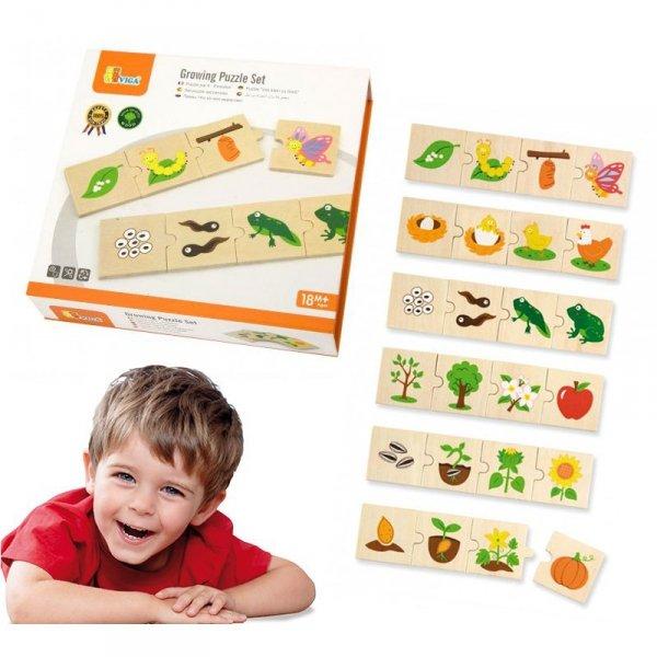 Drewniane Puzzle Rosnące zwierzątka i rośliny - Viga Toys