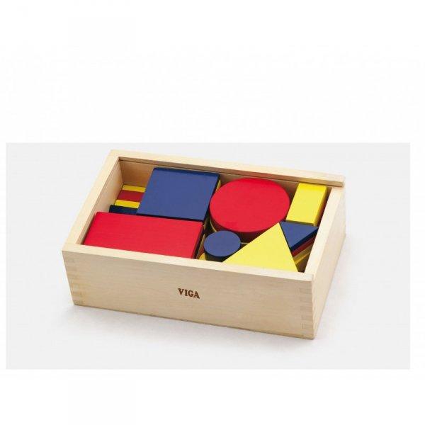 Drewniane Klocki logiczne Figury geometryczne - Viga Toys