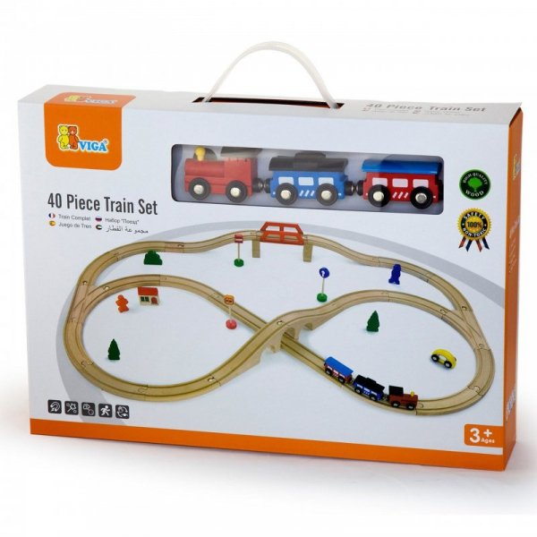 Drewniana Ogromna Stacja kolejowa 49 elementów Pociąg Kolejka - Viga Toys