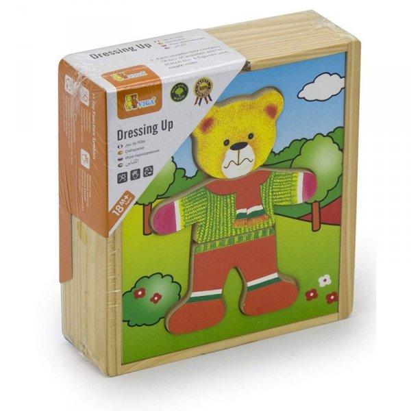 Drewniane Puzzle Układanka Edukacyjna - Ubierz Misia Chłopca - Viga Toys